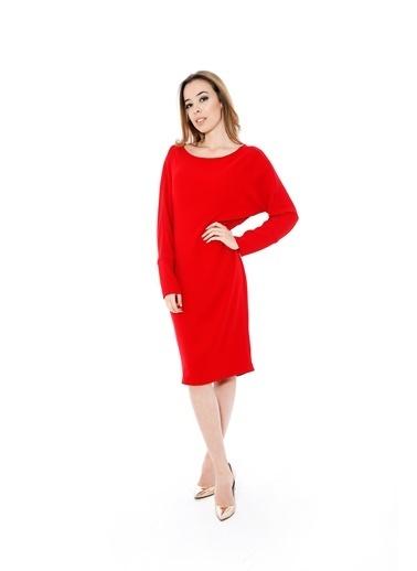 Soie Design Uzun Kollu Midi Elbise Kırmızı
